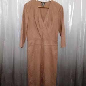EUC BCBGMAXAZRIA FAUX SUEDE / WRAP BEADED DRESS